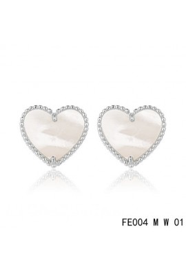 Van Cleef and Arpels Sweet Alhambra Heart Earstuds White Gold White MOP