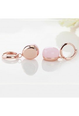 EARRINGS IN ROSE GOLD WITH PINK QUARTZ